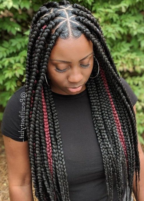 Triangle Braids Hairstyles: New Way Of Rocking Box Braids Inside Most Up To Date Center Part Braided Hairstyles (View 16 of 25)