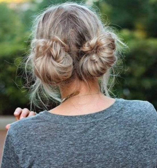 Two Buns Hairstyle: 19 Ways To Wear Double Buns – Thefashionspot With Regard To Braided Space Buns Updo Hairstyles (View 21 of 25)