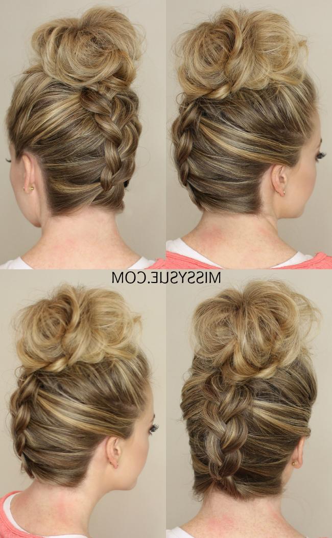 Upside Down Braid To Bun Pertaining To Reverse French Braid Bun Updo Hairstyles (View 19 of 25)