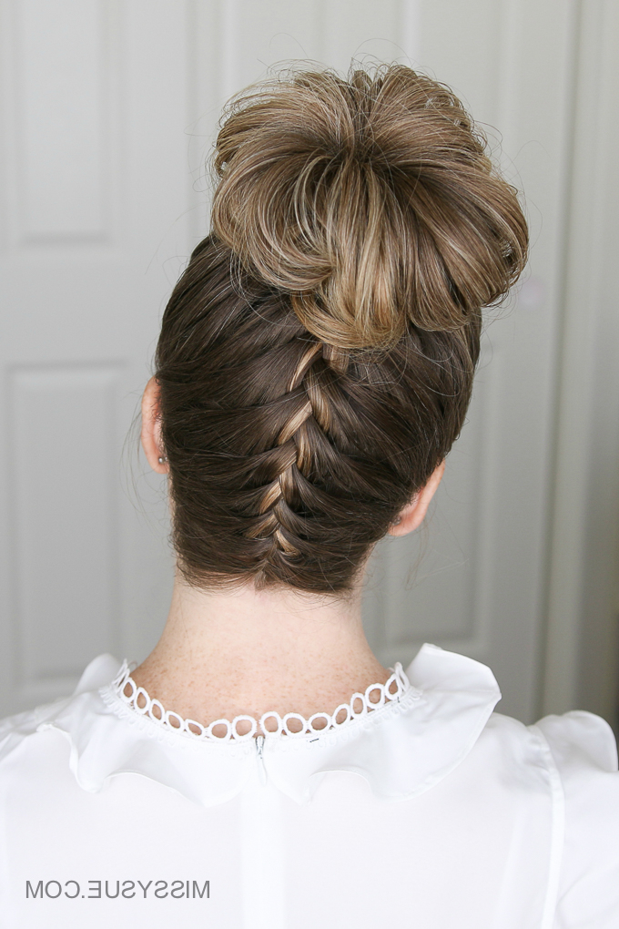 Upside Down French Braid High Bun | Missy Sue With Reverse French Braid Bun Updo Hairstyles (View 5 of 25)
