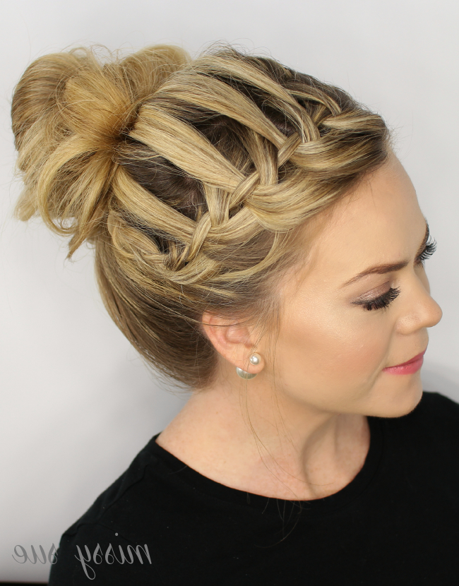 Waterfall Braid Top Knot Inside Topknot Hairstyles With Mini Braid (View 9 of 25)