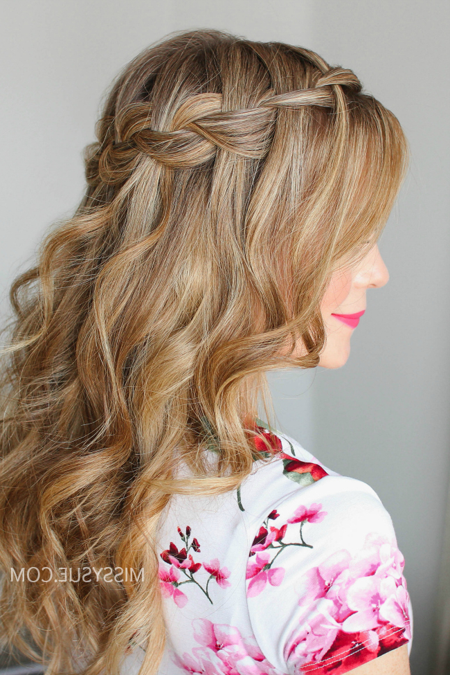 Waterfall Braid Wrapped Flower | Missy Sue Pertaining To Best And Newest High Waterfall Braided Hairstyles (View 14 of 25)