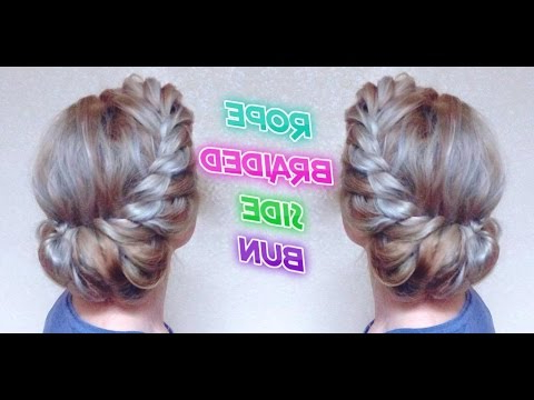 Wedding Hairstyle Rope Braided Side Bun | Awesome Hairstyles For Twisted Rope Braid Updo Hairstyles (View 17 of 25)
