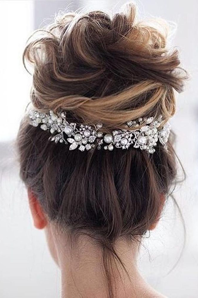 Wedding Hairstyles For Medium Hair Updo Messy Volume High With High Volume Donut Bun Updo Hairstyles (View 24 of 25)