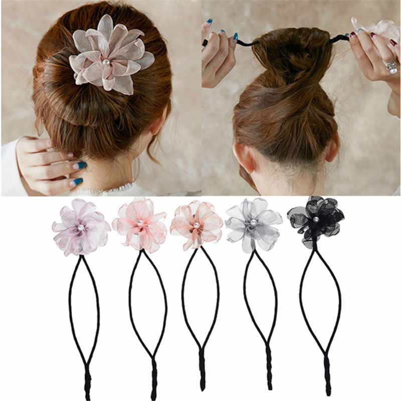 Women Lace Flower Pearl Diy Hairstyle Tool Bud Dish Hairband For Pearl Bun Updo Hairstyles (View 25 of 25)