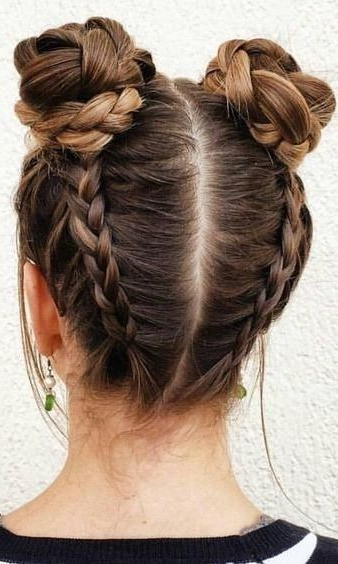 Wraparound Braided Buns | Hair Styles In 2019 | Cool With Regard To Braided Space Buns Updo Hairstyles (View 3 of 25)