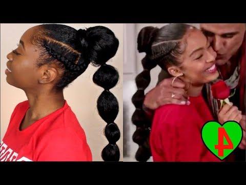 Yara Shahidi Grown Ish Braided Bubble Ponytail Tutorial Regarding Natural Bubble Ponytail Updo Hairstyles (View 7 of 25)