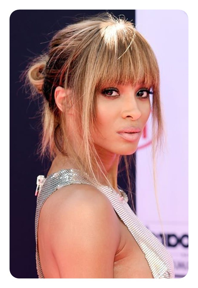110 Unbelievable Ponytails With Bangs To Copy In Braided High Bun Hairstyles With Layered Side Bang (View 23 of 25)