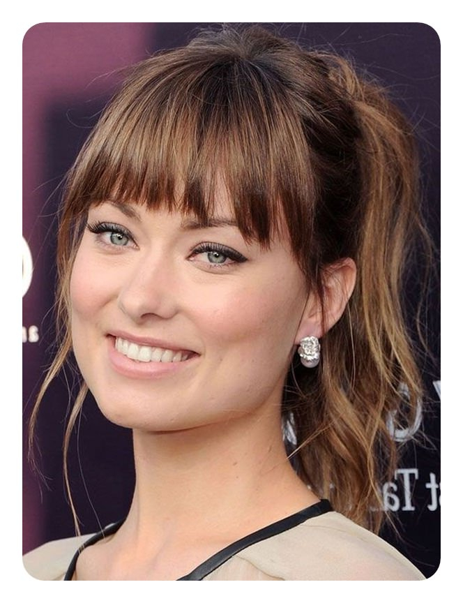 110 Unbelievable Ponytails With Bangs To Copy Throughout Tight High Ponytail Hairstyles With Fringes (View 3 of 25)