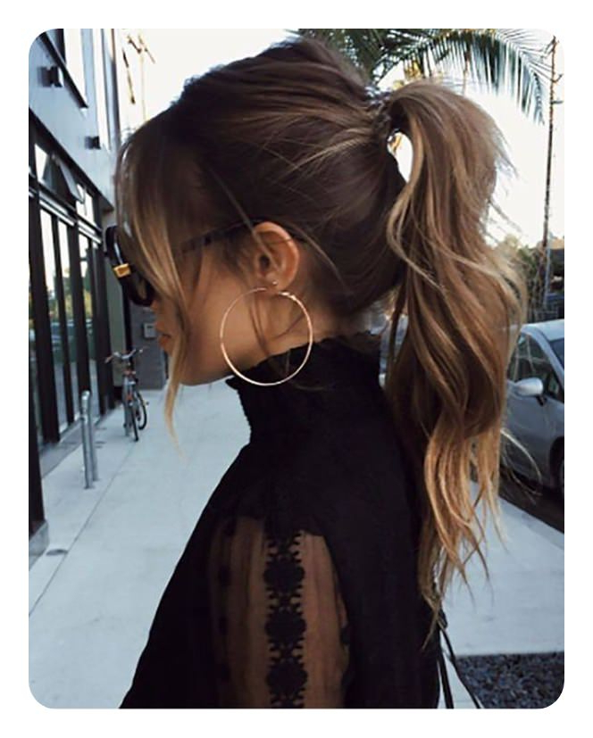 110 Unbelievable Ponytails With Bangs To Copy With Regard To Messy Voluminous Ponytail Hairstyles With Textured Bangs (View 3 of 25)