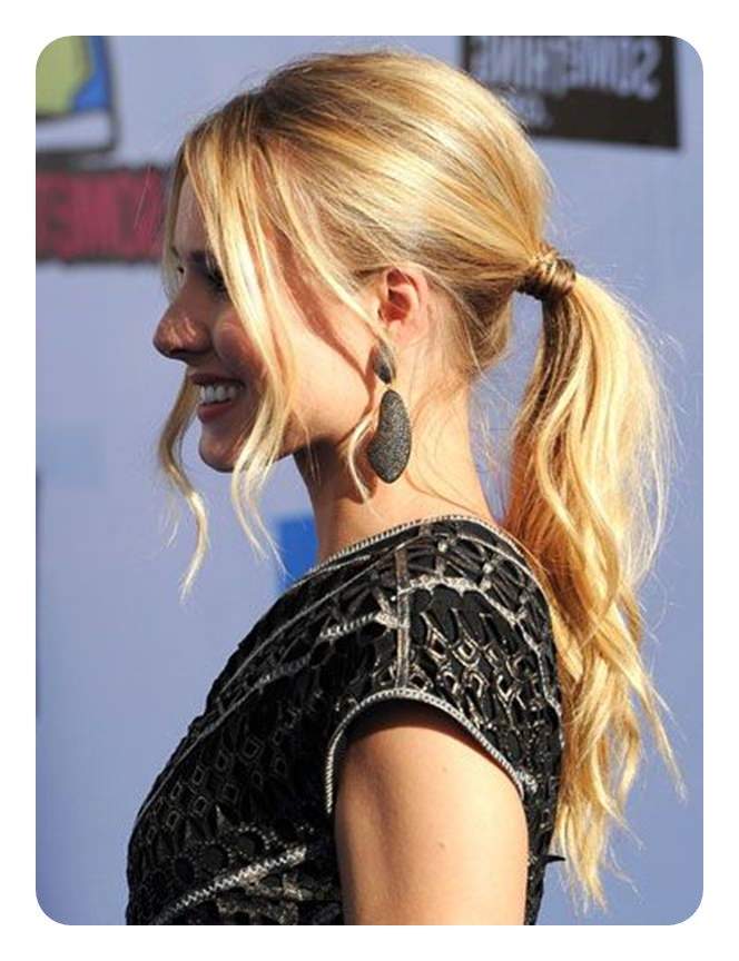 120 Fascinating Ponytail With Bangs To Cherish On Pertaining To Loose Low Ponytail Hairstyles With Casual Side Bang (View 4 of 25)