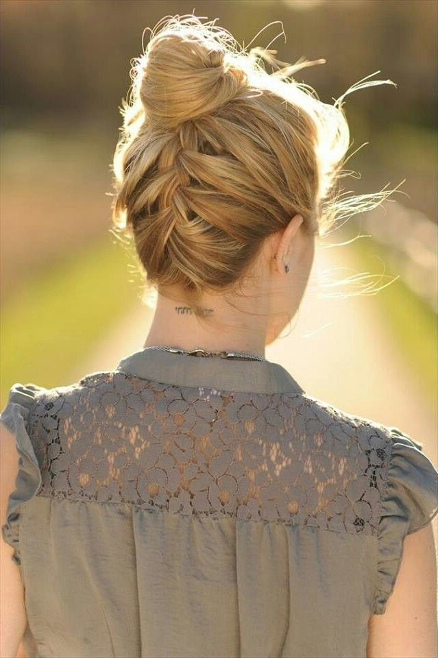 15 Braided Bun Updos Ideas – Popular Haircuts Within Braided High Bun Hairstyles With Layered Side Bang (View 10 of 25)