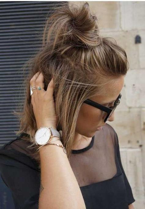 15+ Cute Buns For Short Hair | Medium Hair Styles, Short For Cute Bob Hairstyles With Bun (View 2 of 25)