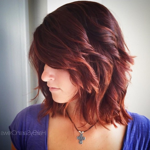 15 Hottest Medium Length Hairstyles With Bangs – Popular With Regard To Medium Length Red Hairstyles With Fringes (View 4 of 25)