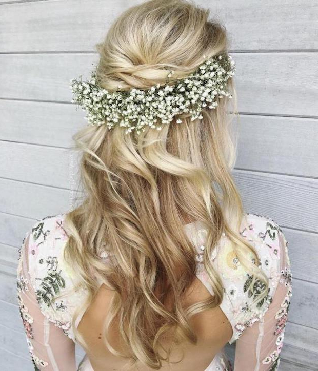 17 Gorgeous Half Up Half Down Wedding Hairstyles | Onefabday Pertaining To Long Half Updo Hairstyles With Accessories (View 20 of 25)