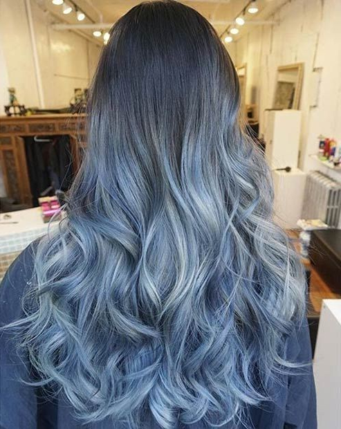 18 Beautiful Blue Ombre Colors And Styles – Popular Haircuts For Black And Denim Blue Waves Hairstyles (View 10 of 25)