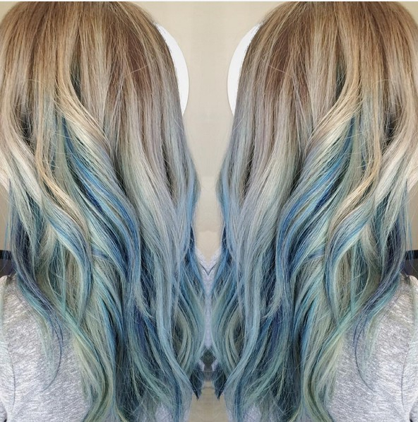 18 Beautiful Blue Ombre Colors And Styles – Popular Haircuts Regarding Black And Denim Blue Waves Hairstyles (View 24 of 25)