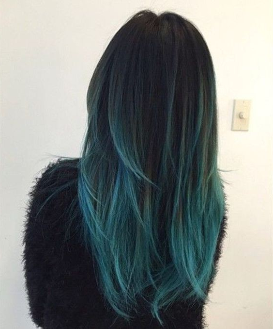 18 Beautiful Blue Ombre Colors And Styles – Popular Haircuts With Regard To Black And Denim Blue Waves Hairstyles (View 21 of 25)