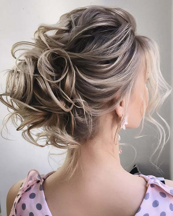 19 Easy And Beautiful Messy Bun Hairstyles – Likes Mag Regarding Elegant Messy Updo Hairstyles On Curly Hair (View 12 of 25)