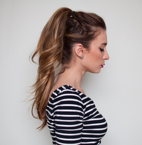 2 Minute Tutorial: How To Do A Double Ponytail | Stylecaster With Messy High Ponytail Hairstyles With Teased Top (View 19 of 25)