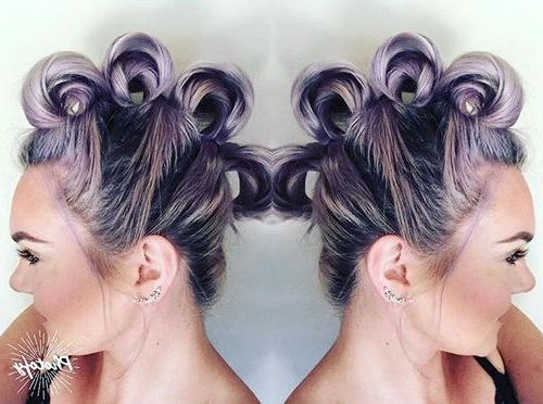 20 Faux Hawk Inspired Hairstyles: Amazing Hairstyles For Women In Icy Purple Mohawk Hairstyles With Shaved Sides (View 25 of 25)