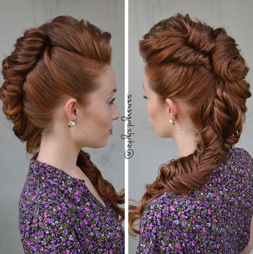 20 Faux Hawk Inspired Hairstyles: Amazing Hairstyles For Women In Icy Purple Mohawk Hairstyles With Shaved Sides (View 12 of 25)