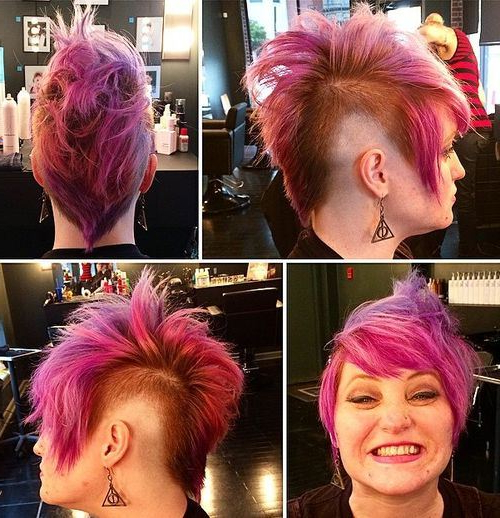20 Faux Hawk Inspired Hairstyles: Amazing Hairstyles For Women With Regard To Icy Purple Mohawk Hairstyles With Shaved Sides (View 10 of 25)