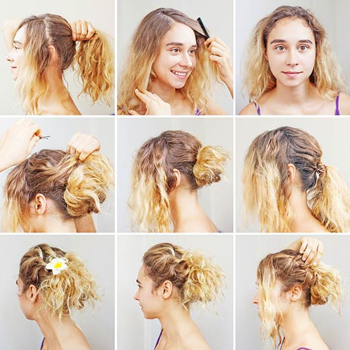 20 Incredibly Stunning Diy Updos For Curly Hair For Messy Updo Hairstyles With Free Curly Ends (View 7 of 25)