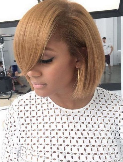 2017 Short Bob Hairstyles For Black Women Long Side Bangs In Pertaining To Middle Parted Relaxed Bob Hairstyles With Side Sweeps (View 4 of 25)