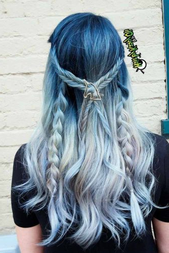 21 Blue Ombre Hair Styles For Daring Women – My Stylish Zoo With Black And Denim Blue Waves Hairstyles (View 20 of 25)