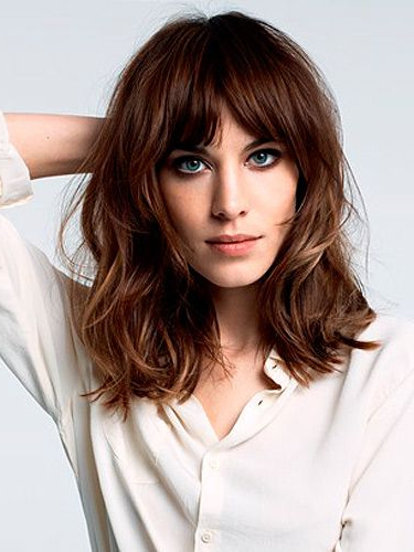 22 Bright Bob Hairstyles With Bangs: Style, Texture & Colour For Wavy Long Bob Hairstyles With Bangs (View 9 of 25)