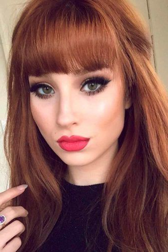 22 Nice And Flattering Hairstyles With Bangs | Hair Lengths Inside Medium Length Red Hairstyles With Fringes (View 5 of 25)