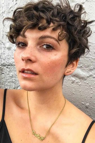23 Cute And Flattering Curly Pixie Cut Ideas Within Blonde Pixie Haircuts With Curly Bangs (View 22 of 25)
