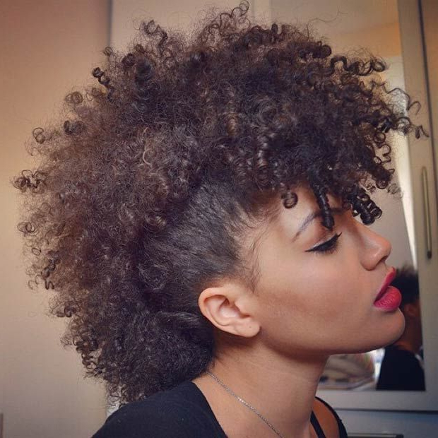 23 Faux Hawk Hairstyles For Women   Natural Hair Styles Intended For Long Curly Mohawk Haircuts With Fauxhawk (View 3 of 25)