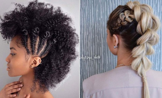 23 Mohawk Braid Styles That Will Get You Noticed   Stayglam Inside Big Curly Updo Mohawk Hairstyles (View 8 of 25)