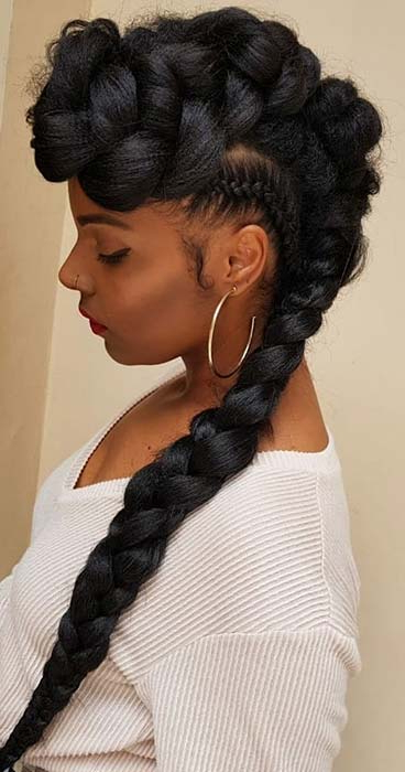 23 Mohawk Braid Styles That Will Get You Noticed | Stayglam Throughout Mohawk Hairstyles With Braided Bantu Knots (View 9 of 25)