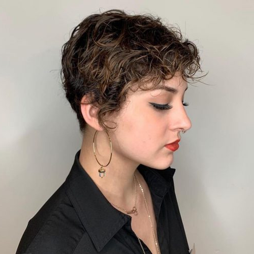 25 Cutest Hairstyles For Short Curly Hair Pertaining To Pixie Haircuts With Bangs And Loose Curls (View 11 of 25)