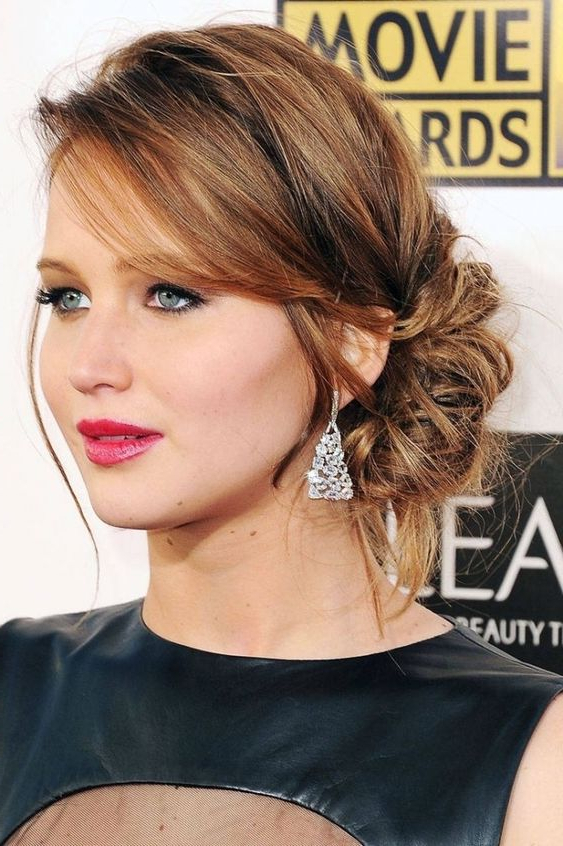25 Elegant Mother Of The Bride/groom Hairstyles – Weddingomania With Regard To Elegant Messy Updos With Side Bangs (View 11 of 25)