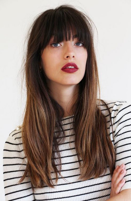 25 Gorgeous Long Hair With Bangs Hairstyles – The Trend Spotter Within Long Hairstyles With Straight Fringes And Wavy Ends (View 5 of 25)
