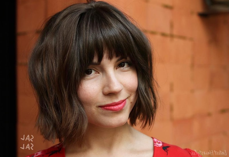 25 Short Hair With Bangs That Anyone Can Wear In 2019 Throughout Middle Parted Relaxed Bob Hairstyles With Side Sweeps (View 22 of 25)
