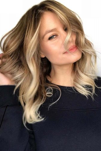 29 Trendy Choices For Brown Hair With Highlights Inside Wavy Lob Hairstyles With Face Framing Highlights (View 25 of 25)