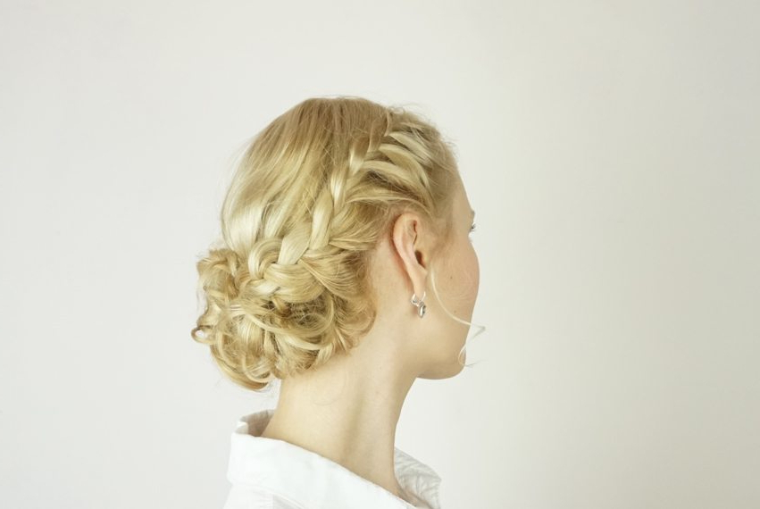 30+ Beautiful Braids For Short Hair – Day 30 – Braided Curly Inside Braided Bun Hairstyles With Puffy Crown (View 12 of 25)