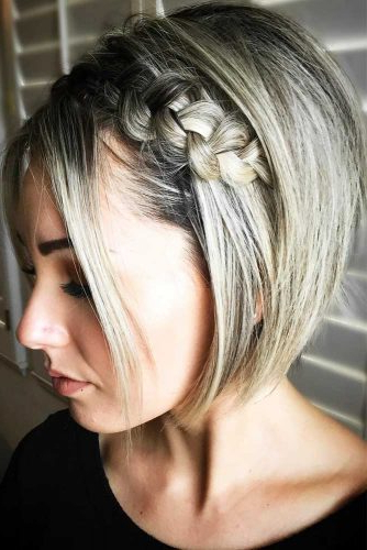 30 Cute Braided Hairstyles For Short Hair | Lovehairstyles In Pretty Short Bob Haircuts With Braid (View 3 of 25)