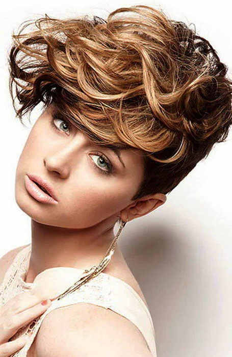 30 Easy Hairstyles For Short Curly Hair – The Trend Spotter Within Blonde Pixie Haircuts With Curly Bangs (View 16 of 25)