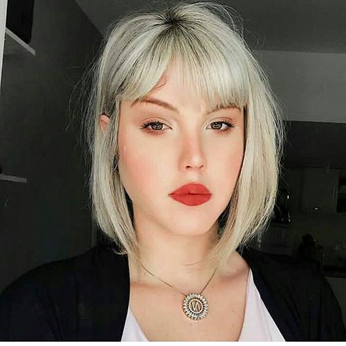 30+ Populer Blunt Bob With Bangs 2019   Short Haircut Throughout Blonde Blunt Haircuts Bob With Bangs (View 17 of 25)