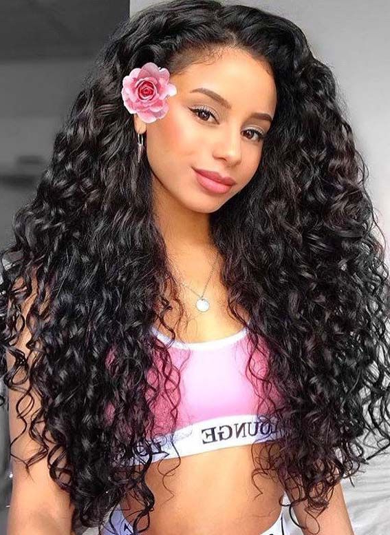 35 Best Inspirational Long Curly Hairstyles To Create In Inside Mohawk Haircuts On Curls With Parting (View 3 of 25)