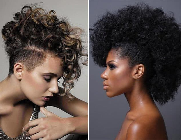 35 Captivating Curly Mohawk Styles For Women – Hairstylecamp In Asymmetrical Chop Mohawk Haircuts (View 13 of 25)