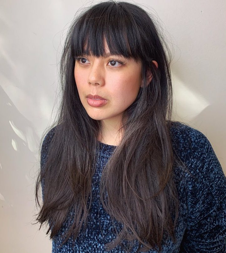 35 Instagram Popular Ways To Pull Off Long Hair With Bangs Within Long Straight Layered Hairstyles With Fringes (View 24 of 25)