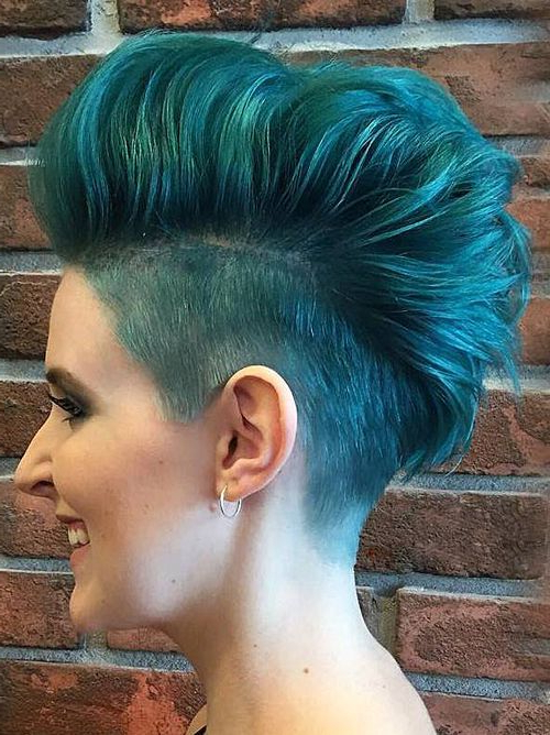 35 Short Punk Hairstyles To Rock Your Fantasy Within Turquoise Side Parted Mohawk Hairstyles (View 5 of 25)