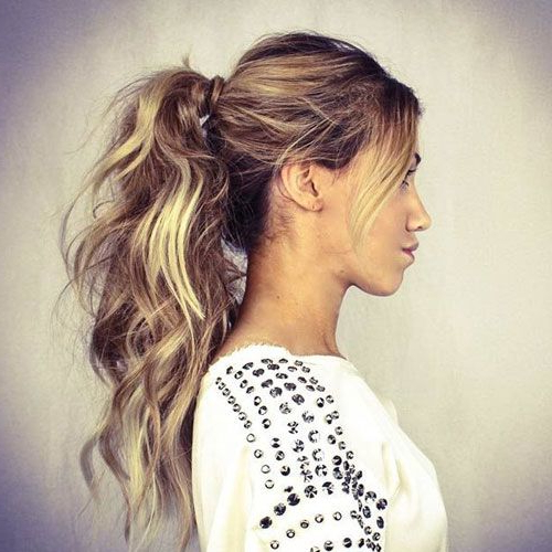 35 Simple & Cute Messy Ponytail Hairstyles (2019 Guide Inside High Long Ponytail Hairstyles With Hair Wrap (View 4 of 25)
